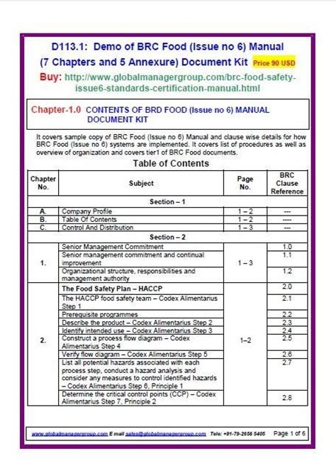BRC Manual for BRC global standard for food safety
